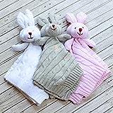 Knit Bunny Lovey Baby Cuddle Blanket - - Monogram Baby Lovie - Personalized Baby Blanket