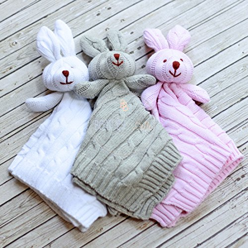(Knit Bunny Lovey Baby Cuddle Blanket - - Monogram Baby Lovie - Personalized Baby Blanket)