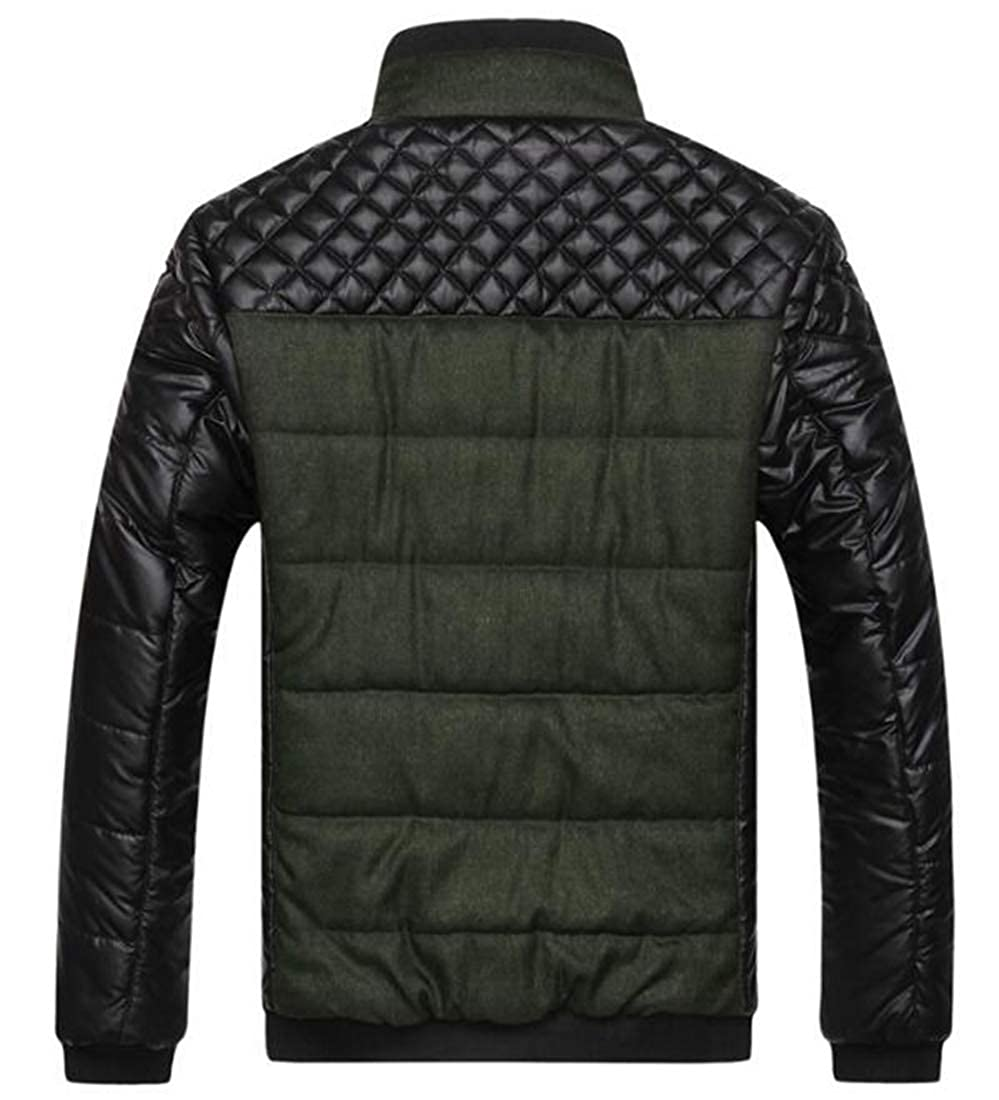 Gnao Men Winter Stand Collar Pu Patchwork Padded Quilted Warm Thicken Puffer Jacket