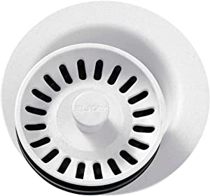 Elkay LKQD35WH Polymer Disposer Flange with Removable Basket Strainer and Rubber Stopper, White