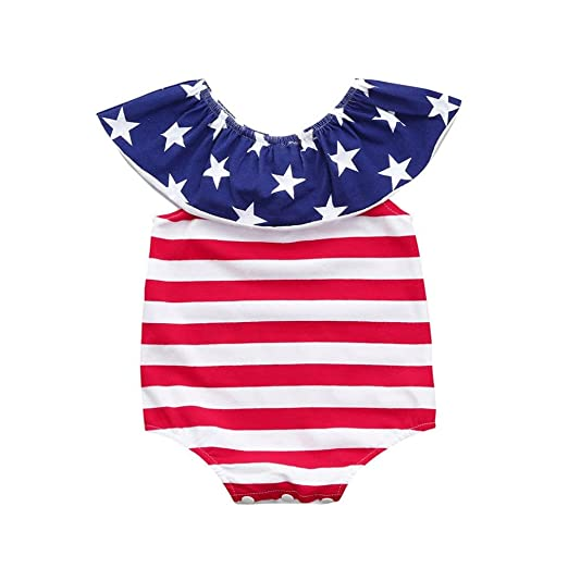5e788cccb335 Amazon.com  CSSD Kids Baby Girls Casual  Stars   Stripe   Short Sleeve   Ruffle  Romper Jumpsuit +Headband Playsuit Outfits Clothes Set  Clothing