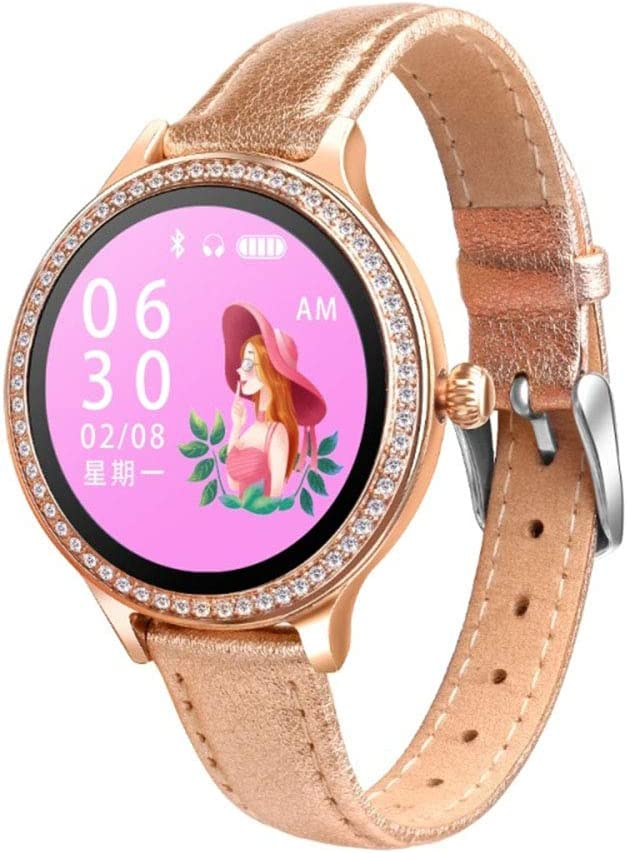MHOL Fitness Tracker, 1.04-Inch IPS Color Screen Lady Smartwatch IP68 Waterproof, Leather Strap for Apple and Android