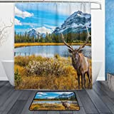 ALAZA Set of 2 Autumn Fall Scene 60 X 72 Inches Shower Curtain and Mat Set, Animal Reindeer Deer Waterproof Fabric Bathroom Curtain and Rug Set with Hooks