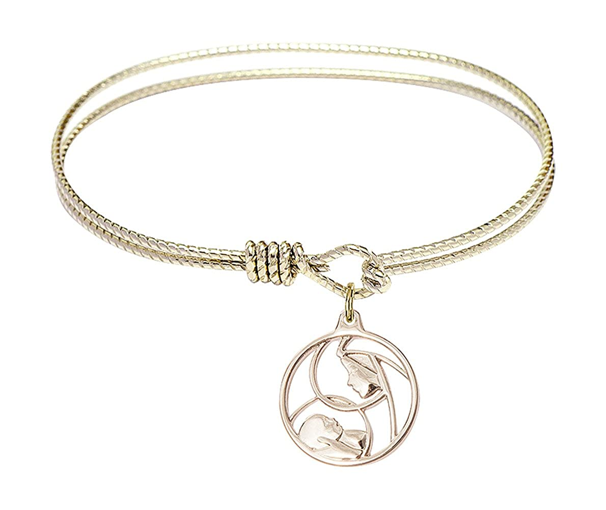DiamondJewelryNY Eye Hook Bangle Bracelet with a Madonna and Child Charm.