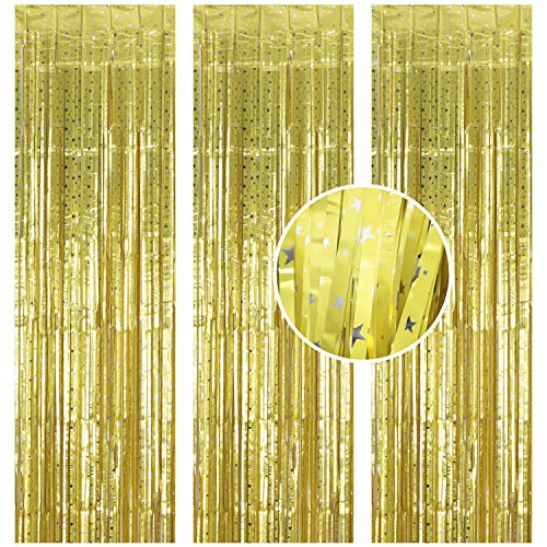 Jeicy 3 Pack Foil Curtains Metallic Fringe Curtains Tinsel Star Backdrop Curtain for Birthday Wedding Party Christmas Halloween New Year Decorations (Matt Golden) -