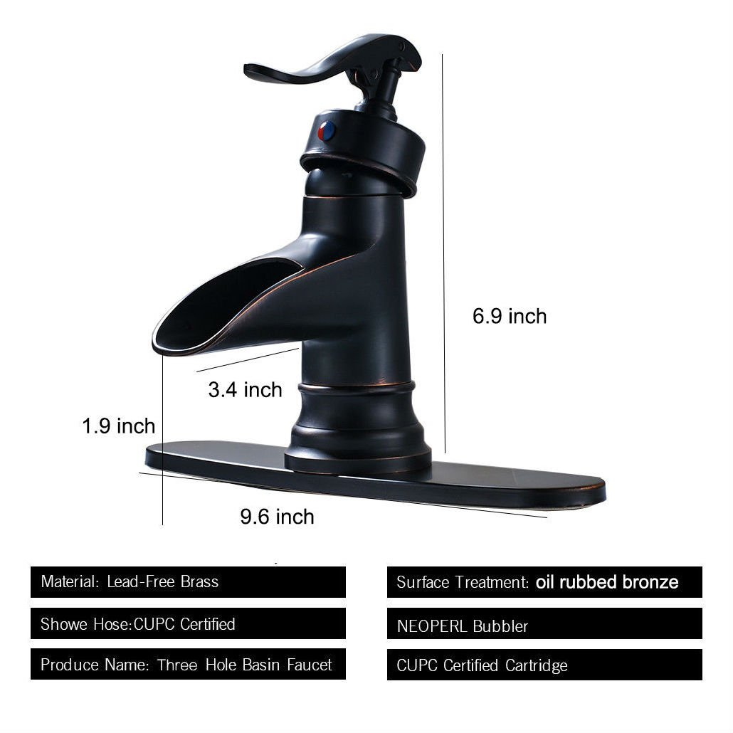 Oil Rubbed Bronze Bathroom Basin Faucet Waterfall Spout Sink Mixer ...
