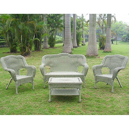 International Caravan 3180-AM-IC Furniture Four Piece Maui Outdoor Seating Group (Vintage Settee Wicker)
