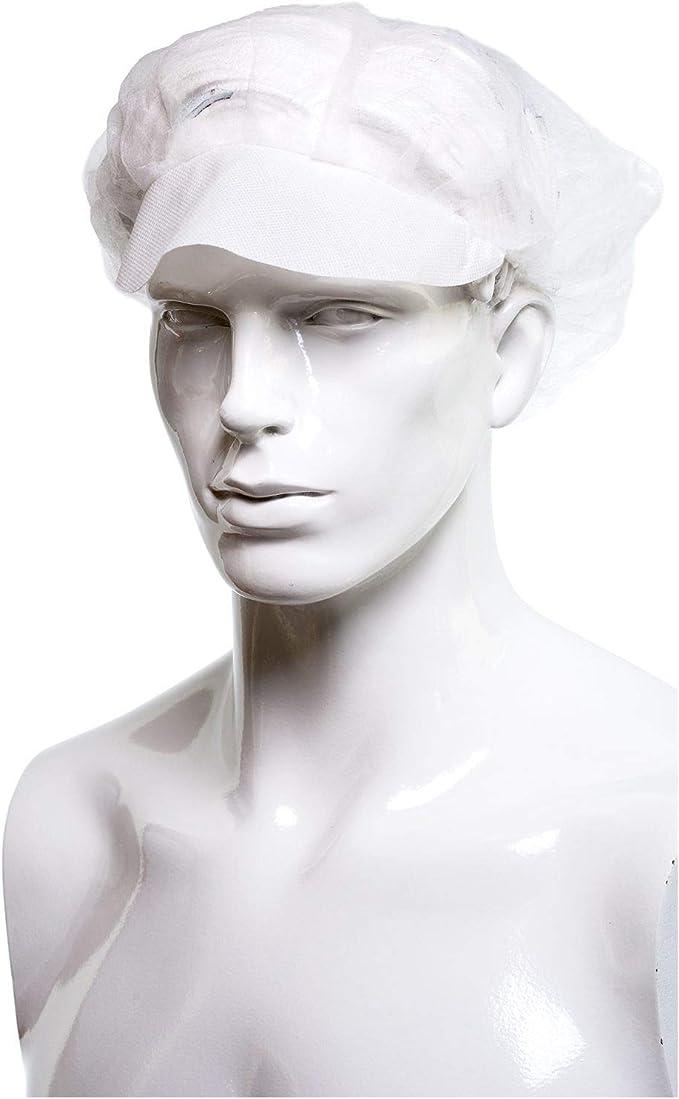 Supermercati Cuffia Bianca Copri Testa e Capelli Brenta Cuffie Retina Monouso in TNT Bianche con Visiera 100 Pezzi Per Ristoranti bianco Cucine Taglia unica