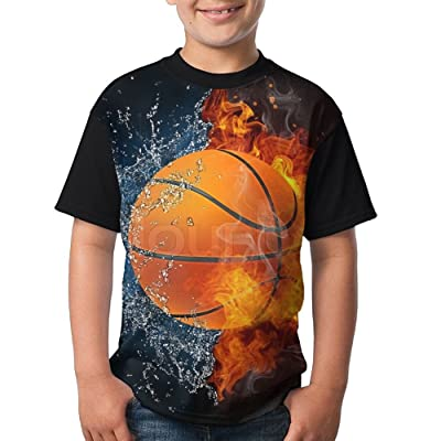 Uskjdjksad34 Kids Basketball Fire & Water Various Short Sleeve T Shirt for Boys Girls
