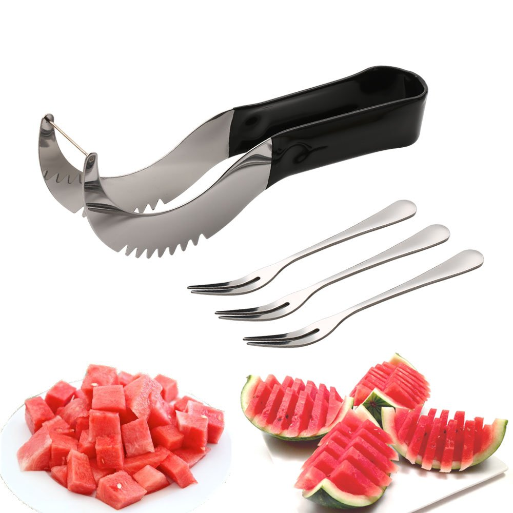Watermelon slicer [BONUS] 3 Fruit Forks Quality Stainless Steel Blade with Comfortable Black Silicone Handle and Reinforced Tip by Homai