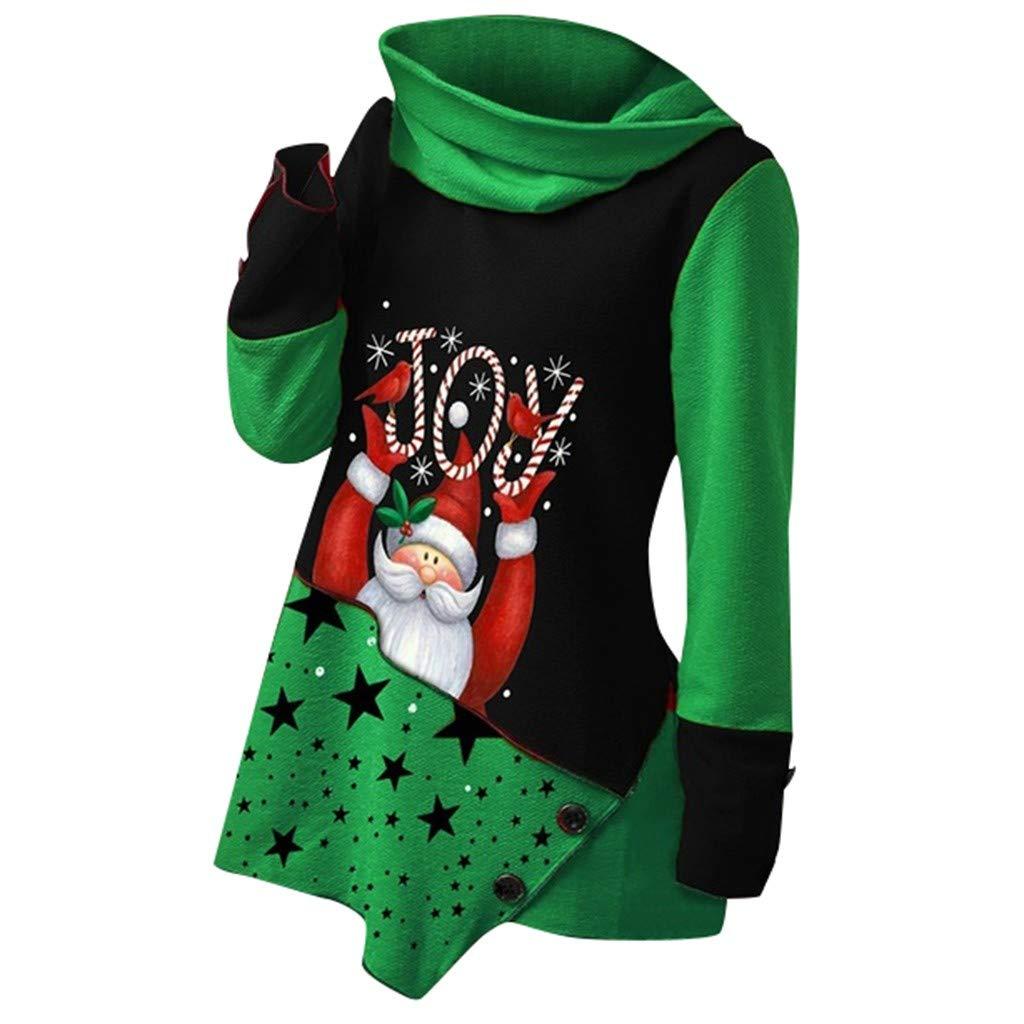 No/ël Sweat Femme sans Capuche Patchwork Hiver Pulls Sweatshirt Pas Cher Noel Imprim/é Hoodie Pullover Col Haut Tops F/ête Youngii