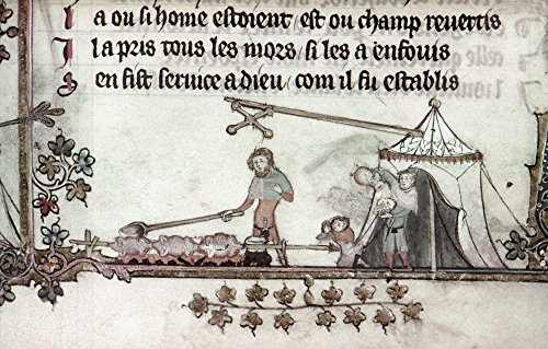 (Cooks 14Th Century Ncook Basting Birds Roasting Over A Fire While A Man Pours Wine To Serve At The Saltire Inn Detail Of An Illumination By Jehan De Grise In The Romance Of Alexander C1340 Poster Prin)