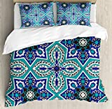 Arabian Duvet Cover Set by Ambesonne, Arabesque Pattern Tradicional Islamic Art Geometry Decorative Persian Damask Art, 3 Piece Bedding Set with Pillow Shams, Queen / Full, Turquoise