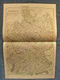 img - for The German Empire, west sheet - single original antique chromolithographed map from