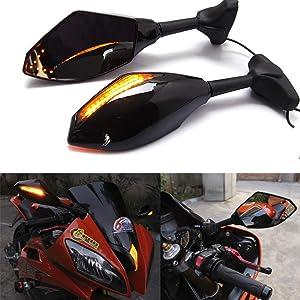 Motorcycle Led Turn Signal Side Mirrors For Yamaha YZF600 YZF R6 FZR600 Honda CBR600