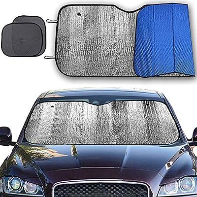 Big Hippo Windshield Sun Shade, Car Window Shade as Bonus Keep Vehicle Cool Windshield Sunshade Protect Your Car from Sun Heat & Glare Best UV Ray Visor Protector -Silver/Blue (Size: 55.16
