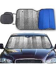 "Big Hippo Windshield Sun Shade, Car Window Shade as Bonus Keep Vehicle Cool Windshield Sunshade Protect Your Car from Sun Heat & Glare Best UV Ray Visor Protector -Silver/Blue (Size: 55.16""X 27.5"")"