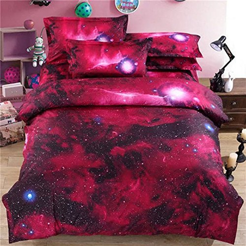 Red Duvet Covers Twin with 1 Bed Sheet and 2 Pillow Shams,4 Piece 3D Galaxy Bedding Sets Space,Cool Modern Soft Comforter Cover King,Unique Duvet Cover Sets