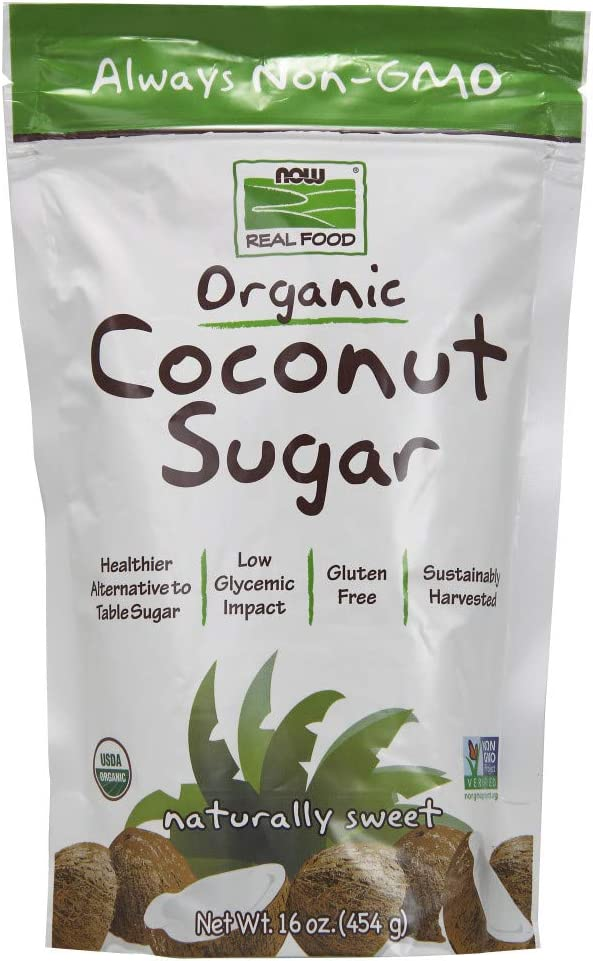 NOW Foods, Certified Organic Coconut Sugar, Alternative to Table Sugar, Low Glycemic Impact, from Sustainably Harvested Coconuts, Certified Non-GMO, 16-Ounce