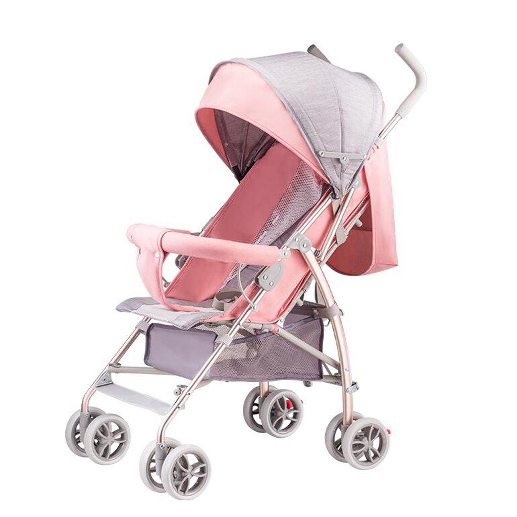 赤ちゃんのベビーカー超軽量ポータブル折りたたみ式赤ちゃんの傘は、リットカートに座ることができます、ピンク/ブルー、57 * 44 * 88センチメートル ( Color : Pink ) B07BX9DK46
