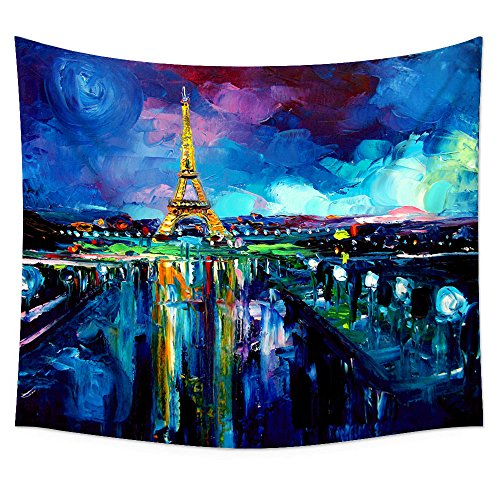 Uphome Oil Painting Paris Eiffel Tower Wall Tapestry Hanging