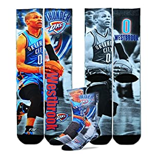Oklahoma City Thunder NBA Drive Crew Socks Size Medium 5-10 - Russell Westbrook #0