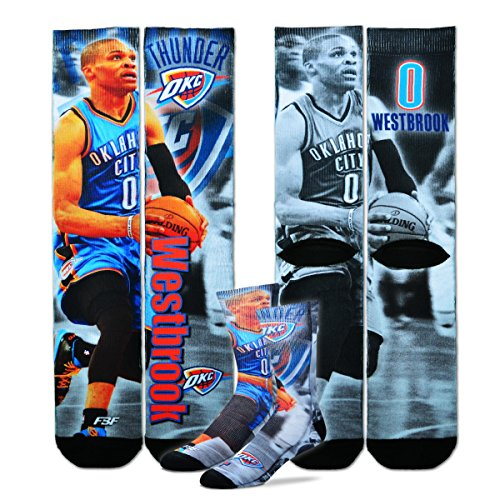 Oklahoma City Thunder Youth Size NBA Drive Crew Kids Socks (4-8 YRS) 1 Pair -Russell Westbrook #0 by For Bare Feet