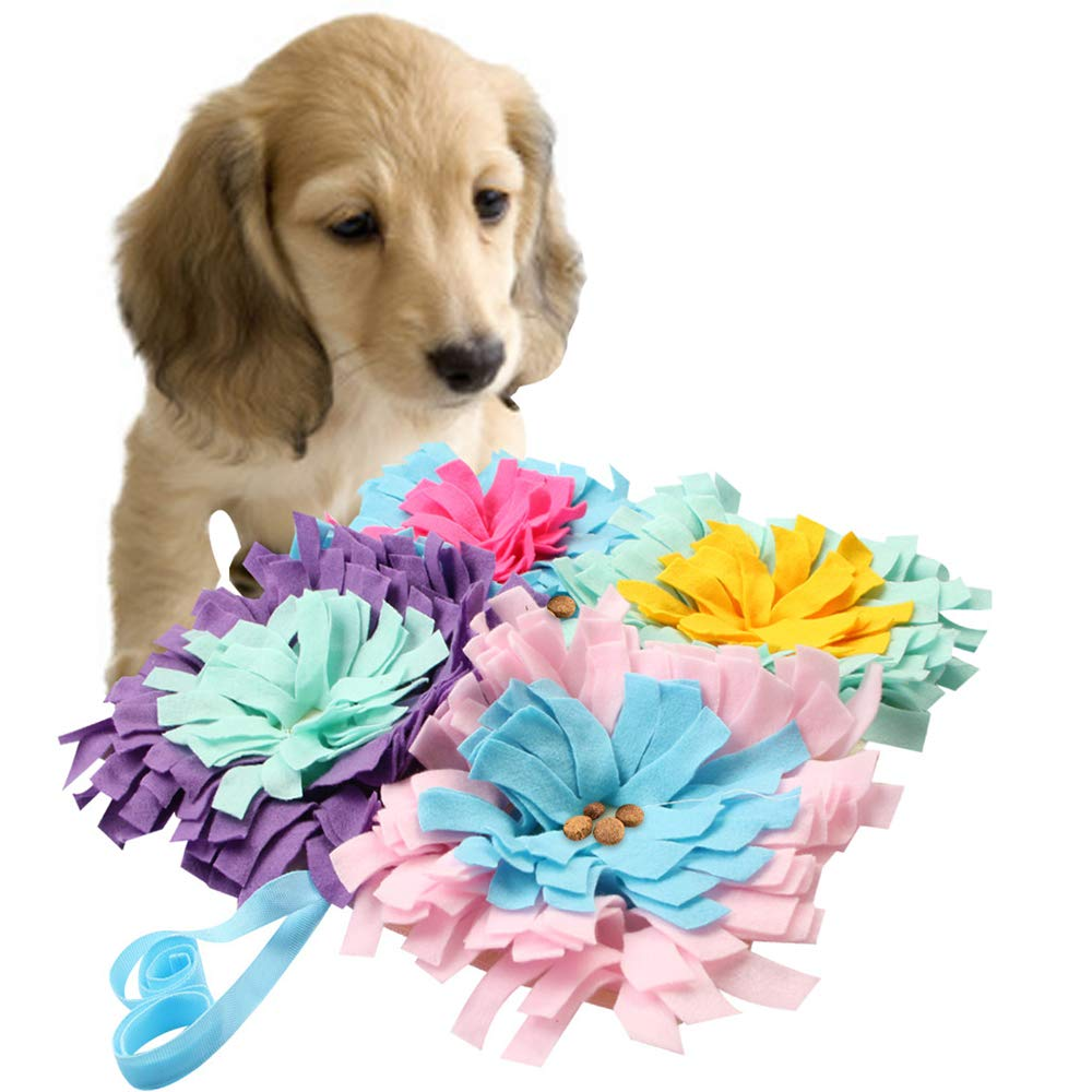 FXQIN Pet Snuffle Mat Non-Slip Dog Feeding Mat Training Pad Nosework Blanket Washable Soft Interactive Puzzle Toy for Dog Cat 45 cm