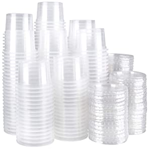 Lawei 200 Pack 5 oz Plastic Disposable Portion Cups with Lids - Jello Shot Cups Plastic Souffle Cups for Sauce Condiment Snack Souffle and Salsa