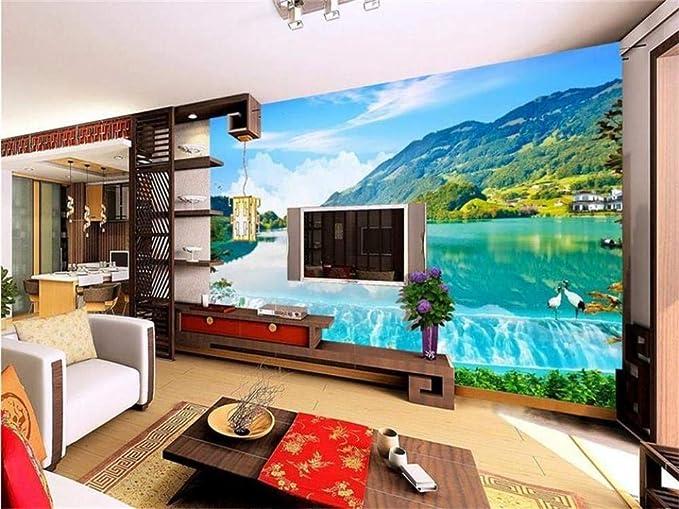 Fotomurales - Murales moderna de Diseno 3D Blue Sky River Paisaje 3D- Decoración de Pared decorativos - 450x300cm: Amazon.es: Bricolaje y herramientas