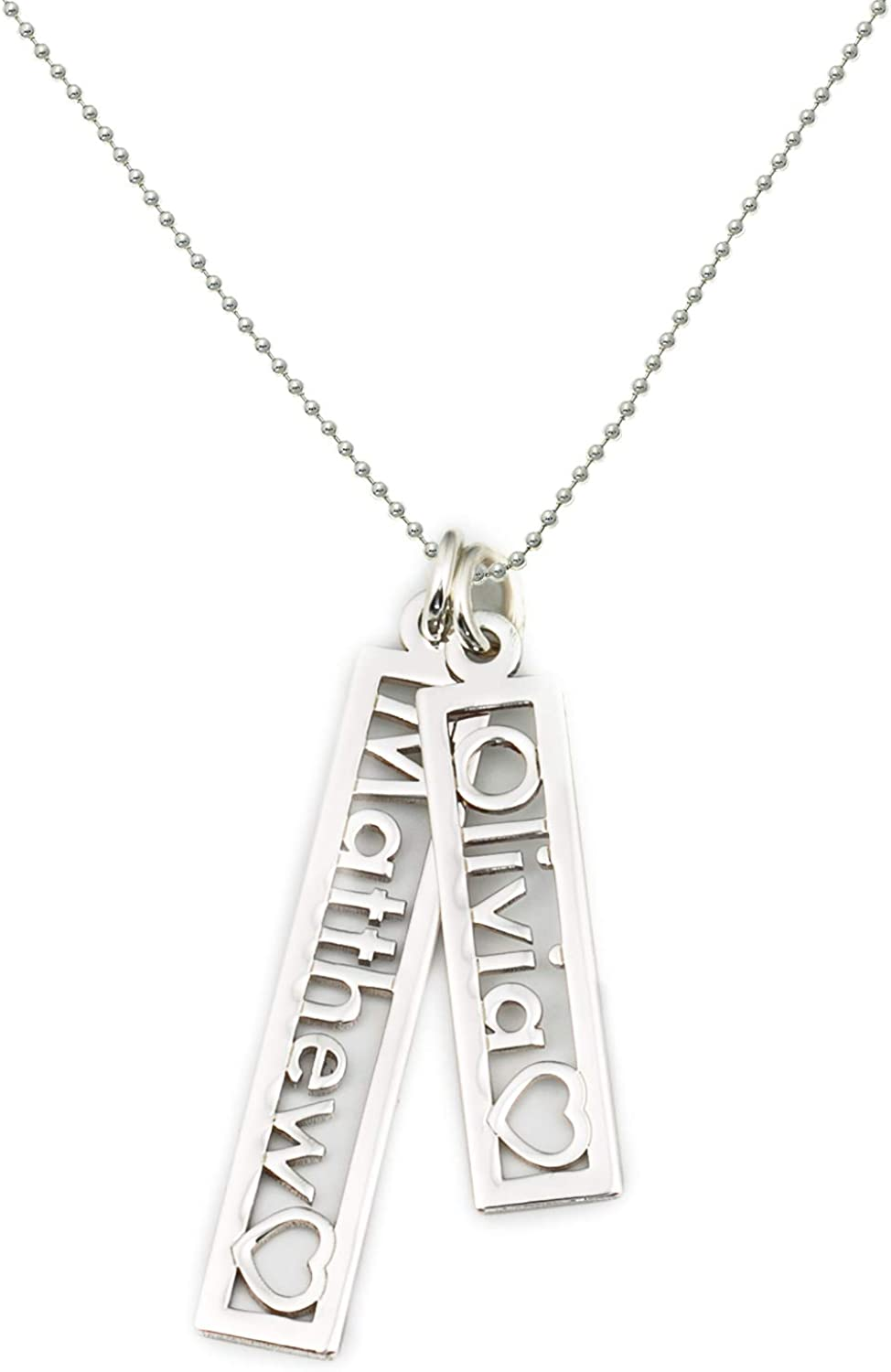 Shiny Choice of Sterling Silver Chain AJs Collection Personalized Double Open Name with Heart Cut Out Rectangle Sterling Silver Charm Necklace Customize Two Rectangle Charms Elegant Classy
