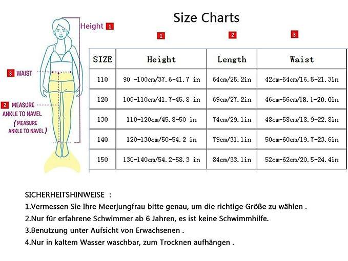 150, Rot+flossen Superstar88 Meerjungfrau Badeanzug M/ädchen Niedliche Meerjungfrau Kost/üm 3pcs Bikini-Sets Kinder Schwimmflossen