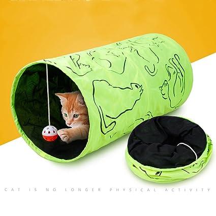 Gato Túnel Juguete Interactivo Jugar Gato Tubo Juguete con Pelota Y Arruga Sonar Plegable Túnel para