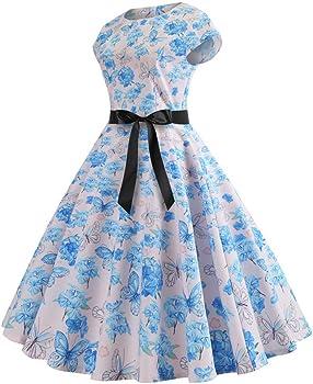 beautyjourney Vestido de Mujer Estilo años 50 Vintage Rockabilly ...