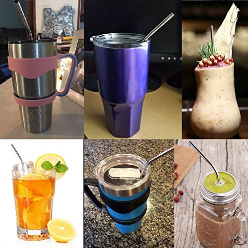 SHiZAK Eco-friendly Reusable Stainless Steel Drinking Beverage Straws 8.5 inch 4 Bent & 4 Straight for Juice Milk Coffee 20 OZ Yeti Tumbler Soda with 2 Cleaning Brushes