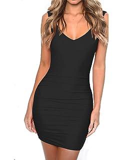3dd2189a743d Haola Women's Deep V Neck Backless Mini Dress Sexy Club Party Bodycon Dress