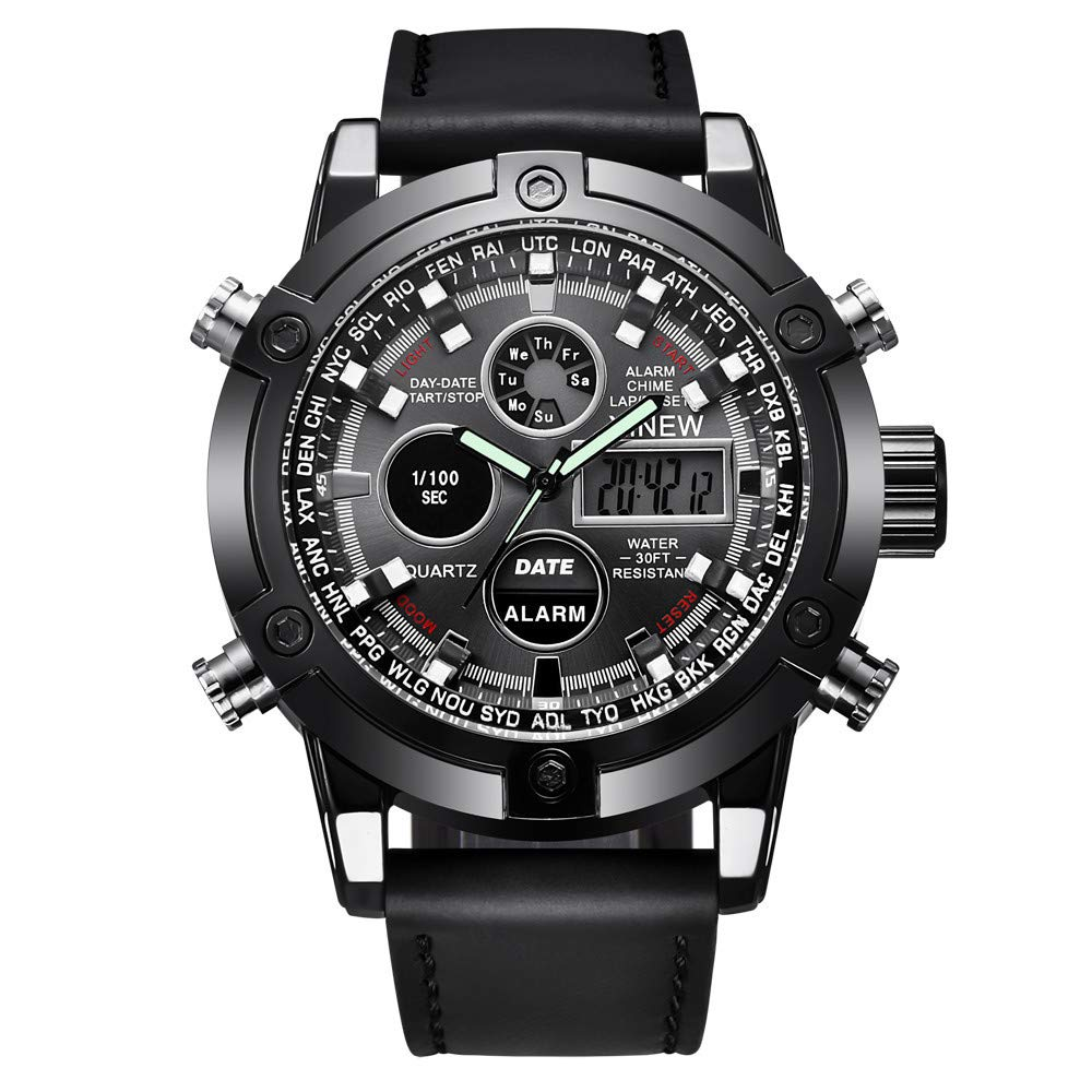 Amazon.com: Sale WoCoo mvmt Relojes de Hombre Military Wrist Watch Waterproof Analog Digital Sports Watches with Black Leather(Black): Kitchen & Dining