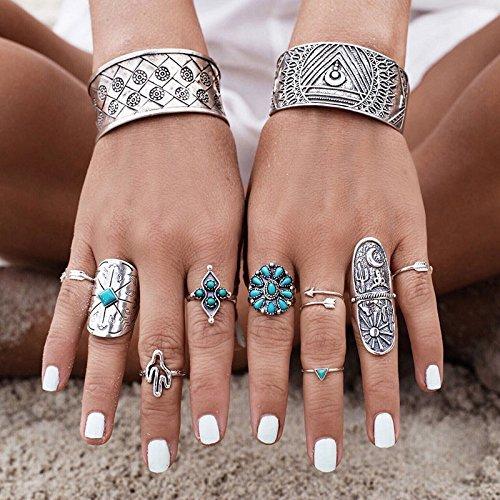 9pcs-bohemian-turquoise-arrow-ethnic-boho-open-midi-knuckle-ring-set