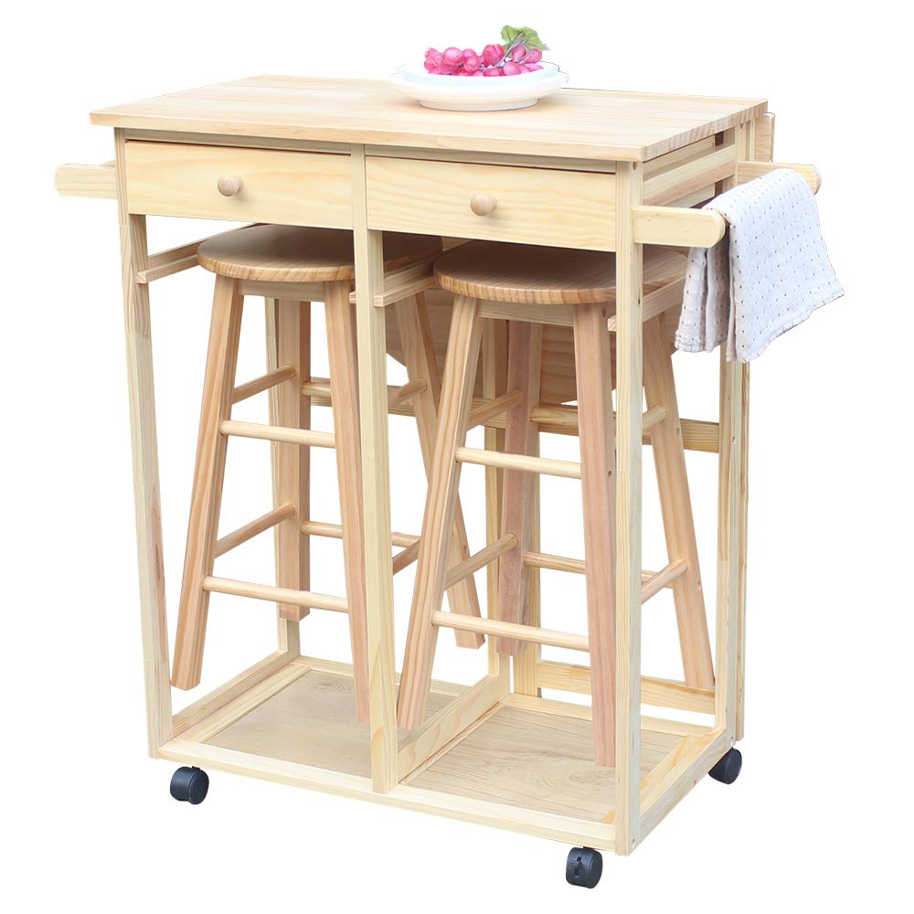 FCH Small Kitchen Table and Chair Set Wooden Kitchen Trolley Island Cart with 1 Drop Leaf 2 Stools and 2 Drawers for 2 (Natural)