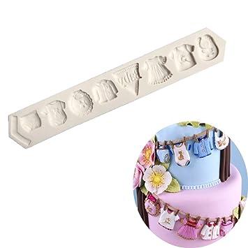 Molde de silicona con forma de ropa de bebé para fondant, moldes de chocolate,