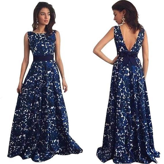 63645bcc39f442 Yanhoo Damen Kleid Abend Kleid Schulterfreies Cocktailkleid Jerseykleid  Skaterkleid Frauen Strand Häkeln Backless Frauen Floral Lange Formale  Abendkleid ...