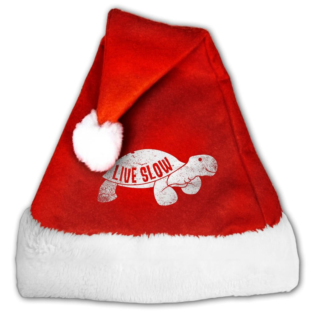 Live Slow Turtle Funny Animal Christmas Hat Velvet Santa Claus Hat S Size For Kid,M Size For Adult