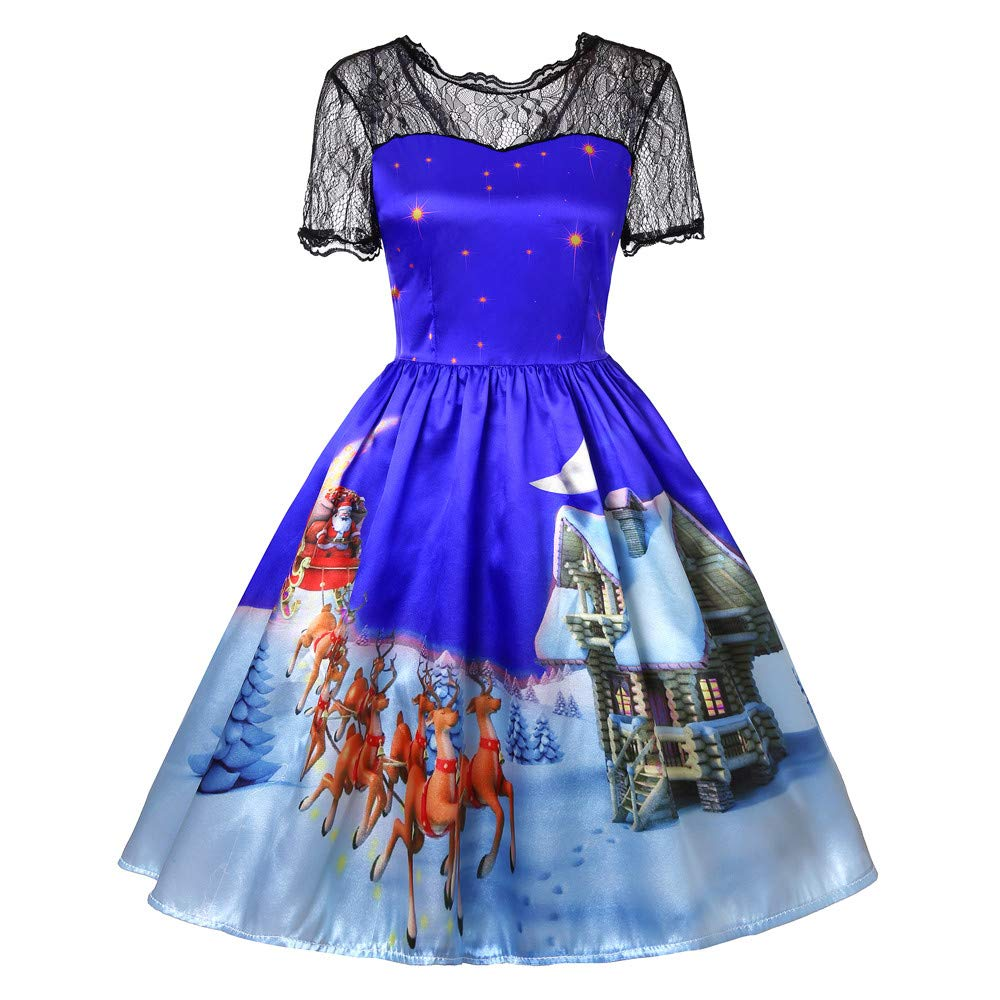Sunyastor Women Retro Dresses, Short Sleeve Christmas Print Swing Dress Lace Vintage Santa Claus A-Line Dress