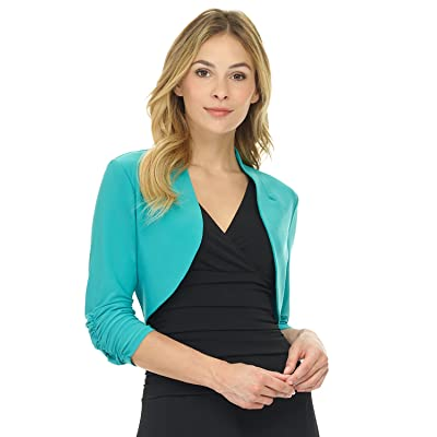 Rekucci Women's Chic Soft Knit Stretch Bolero Shrug with Ruched Sleeves at Women's Clothing store