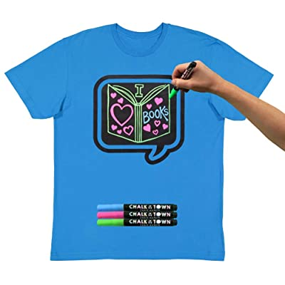 Adult SS Brilliant Blue Chalkboard T-Shirt with Chalk Markers | Amazon.com