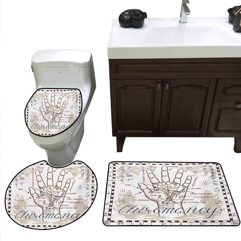 b1a4b0e5c209 Amazon.com: Anshesix Occult Bath Toilet mat Set Vintage Chiromancy ...