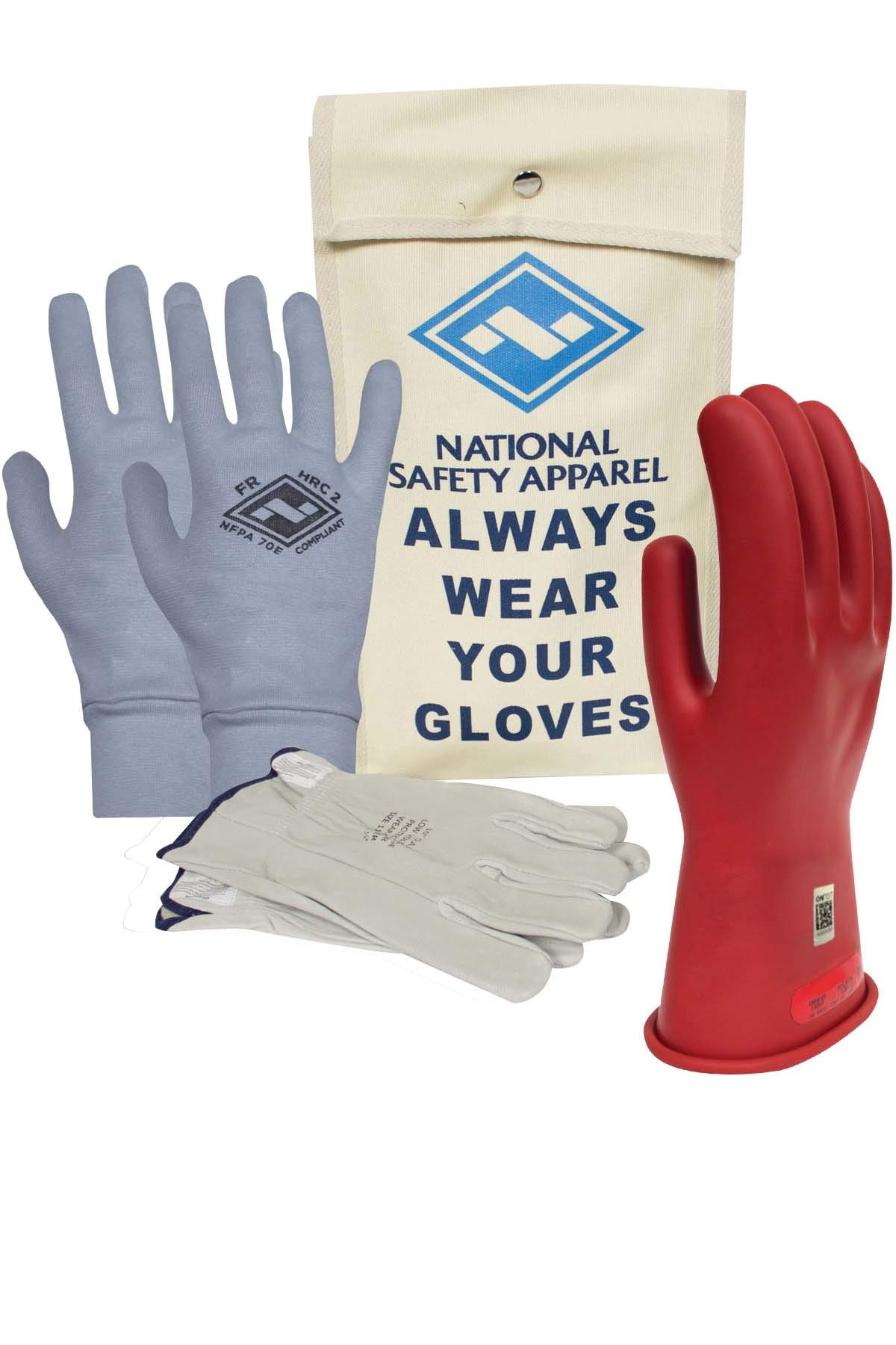 National Safety Apparel Class 0 Red Rubber Voltage Insulating Glove Premium Kit with FR Knit Glove and Leather Protectors, Max. Use Voltage 1,000V AC/ 1,500V DC (KITGC0010RAG)