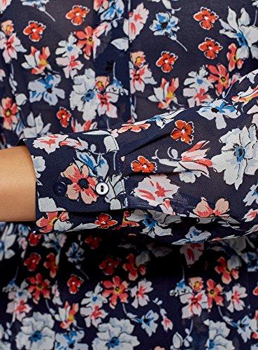 oodji Collection Donna Abito in Tessuto Fluido con Cintura, Blu, IT 42 / EU 38 / S