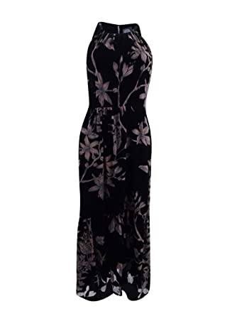 36f961f4 Vince Camuto Women's Printed Velvet Halter High-Low Midi Dress Black/Taupe  6 at Amazon Women's Clothing store: