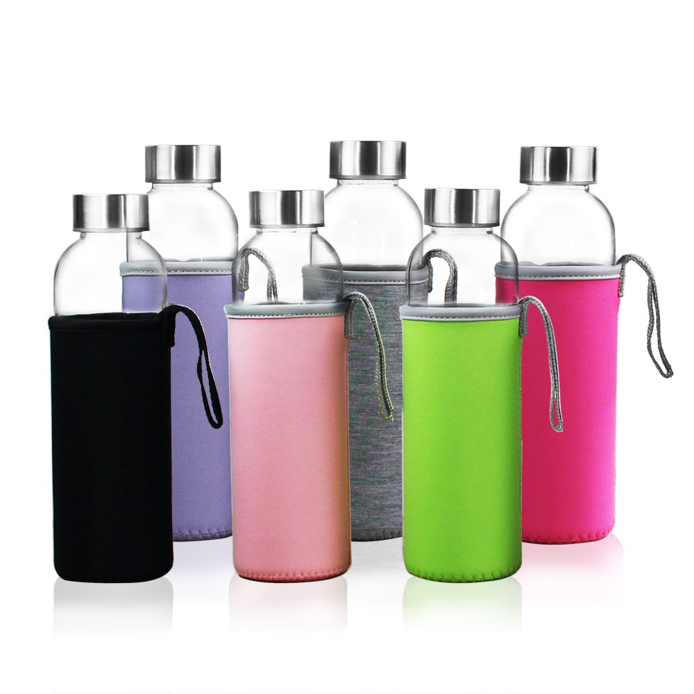 YEBODA Glass Water Bottles 18oz Bottles For Beverage and Juicer Use Stainless Steel Caps - Including Colorful Nylon Protection Sleeve,Pack Of 6